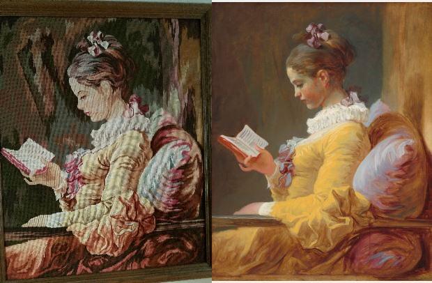 Needlepoint:  Young Girl Reading…Atreasure