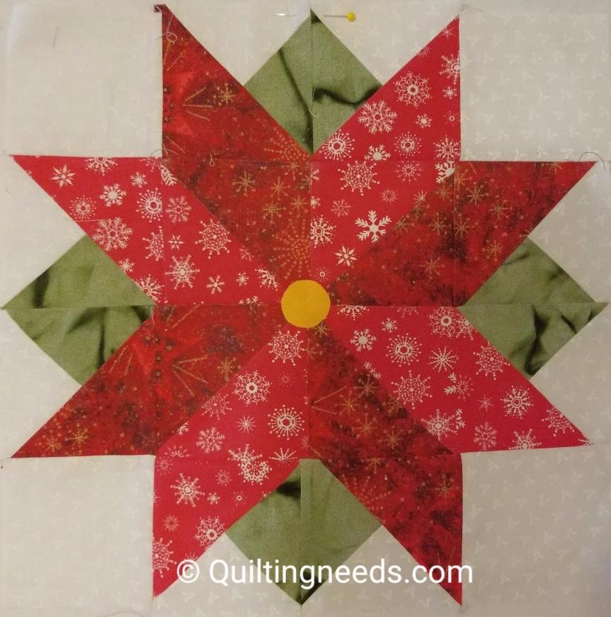 Pointsettia – We wish you a Merry Quilt Along Block#7