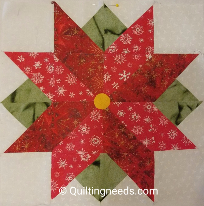 Pointsettia – We wish you a Merry Quilt Along Block #7